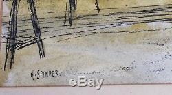 John Humphrey Spender (1910-2005) Pastel Workers Scene Of Work
