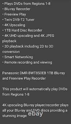 Panasonic Dmr-bwt850 Smart 1 To DVD Multi-region 3d 4k Blu-ray Conversion