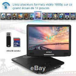 Pumpkin 14 Pouce Lecteur DVD Blu Ray Portable Full HD 1080P HDMI Dolby USB AUX